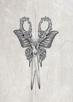 Pretty sewing scissors, butterfly tattoo idea tattoo designs ideas männer männer ideen old school quotes sketches Cosmetology Tattoos, Hairdresser Tattoos, Hairstylist Tattoos, Future Tattoos, Love Tattoos, Beautiful Tattoos, Body Art Tattoos, Shear Tattoos, Tatoos