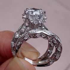Amazon.com: Newshe Vintage 3ct Round White CZ 925 Sterling Silver Wedding Band Engagement Ring Set Size 5: Jewelry