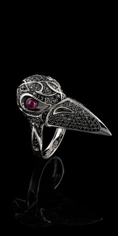Master Exclusive Jewellery - Collection - Day and night - 18K white gold, black diamonds, rubies