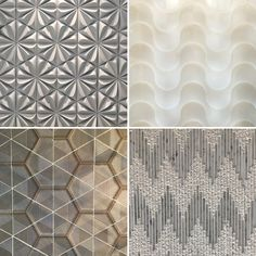 Tiles Clockwise from top left: Tiles by Walker Zanger, Surface by Hi-Macs, Tile by Pera Tile, Tile by Ann Sacks Tile Patterns, Pattern Art, Textures Patterns, Tiles Texture, 3d Texture, Tile Layout, Bath Tiles, Bathroom Trends, Wooden Cabinets