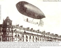 Alberto Santos-Dumont in one of his pedal powered dirigibles, flying over the streets of Paris. Air Machine, Wright Brothers, Vintage Airplanes, Historical Pictures, Paris Street, World War I, Photo Illustration, In The Heights, Aviation