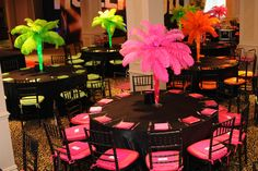 SWEET SIXTEENS - Neon Feather Plume Tree Centerpieces