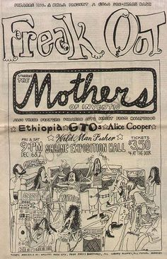 Original full page newspaper concert ad for Alice Cooper and Mothers Of Invention at the Shrine in LA. Art by Cal Schenkel. 11 x 17 Rock Posters, Band Posters, Concert Posters, Punk Poster, Vintage Music Posters, Old Advertisements, Alice Cooper, Frank Zappa, Music Images