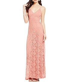 B Darlin VNeck Sleeveless Open Back Lace Long Dress #Dillards