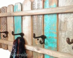 Wood Coat Rack OOAK Cast Iron Coat Hook / Shabby Cottage Beach