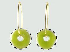 Grønne porcelæns øreringe