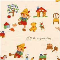 ecru Canvas Pinocchio fairy tale fabric Kokka - Fairy Tale Fabric - Fabric