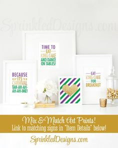 Time to Eat King Cake Dance On Tables, Mardi Gras Decorations, Purple Green Gold Glitter New Orleans Home Decor Wall Art Printable 8x10 Sign - SprinkledDesigns.com