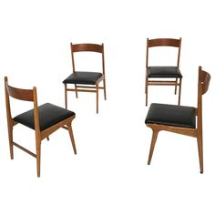 Set of Four Vintage Walnut Dining Chairs, 1960s