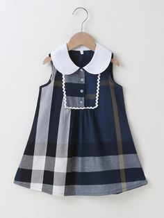Baby Clothes Patterns, Clothing Patterns, Sewing Patterns, Toddler Girl Dresses, Girls Dresses, Summer Dresses, Peter Pan Collar Dress, Fashion Design For Kids, Contrast Collar