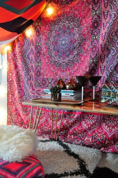 I really want this tapestry to use as a makeshift headboard. Love the pattern and colors. - Aimee St Hill Farah Squared Red Tapestry | DENY Designs Home Accessories