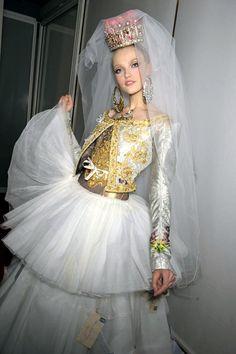 Vlada Roslyakova at Christian Lacroix Haute Couture SS09 backstage