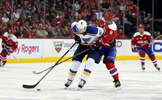 Blues in Control:   St. Louis Blues center Patrik Berglund (21), from Sweden, blocks Washington Capitals left wing Alex Ovechkin (8), from Russia on Mar. 26 in Washington. The Blues won 4-0.  -     © Alex Brandon/AP Photo