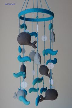 Felt mobile with whales by Kosucas on Etsy, €45.00