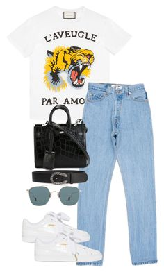 """""""Untitled #3976"""" by theeuropeancloset on Polyvore featuring Gucci, Puma, Yves Saint Laurent and Ahlem"""