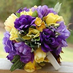 Dark purple and yellow bouquet?