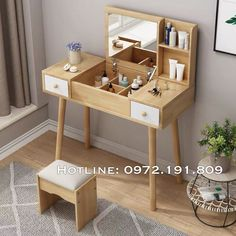 Vanity Table Set, Home Libraries, Corner Desk, Table Settings, Mirror, Furniture, Home Decor, Corner Table, Decoration Home