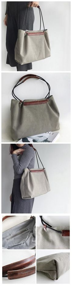 Handmade Waxed Canvas Tote Bag Women's Casual Shopper Bag Shoulder Bag Women's Fashion Bag School Bag Daily Bag MY13 --------------------------------- - 16oz waxed canvas - Cotton lining - Inside one