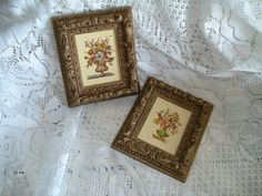 CLEARANCE SALE * Vintage Floral Plaques Gold Frames / Hollywood Regency Florentine Cottage Shabby Mid Century Italian Italy / rdt ivteam