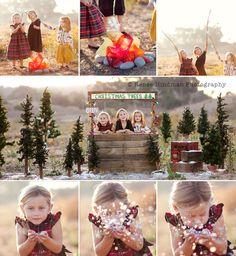 Adorable Christmas tree farm shoot