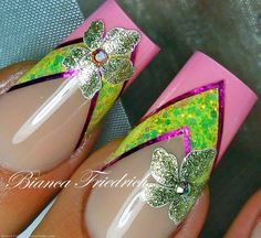 Shimmery Neon Yellow and Pink French Nails. Cute Nail Art, Beautiful Nail Art, Gorgeous Nails, Beautiful Eyes, Nail Tip Designs, Nail Polish Designs, Chevron Nail Art, Camo Nails, Sculptured Nails