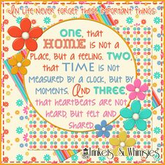 In Life Never Forget These Important Things: Home, Time And Heartbeats.  Digital Source Elements: Beach Party Digital Scrapbook Paper Pack by Trinkets & Whimsies