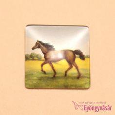 Barna ló mintás, négyzet alakú, 25 mm-es üveglencse • Gyöngyvásár.hu Painting, Painting Art, Paintings, Drawings