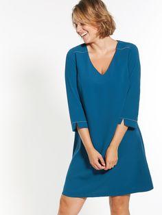 Robe trapèze poitrine généreuse bleu Femme BALSAMIK