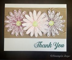 Stampindays; 2017-2019 In Color, Daisy Delight, Thank You Card, Stampin UP!