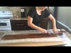 Paper Bag Flooring- Wood grain tool technique for paper bag floor… Wood Plank Flooring, Flooring For Stairs, Diy Flooring, Wood Planks, Concrete Floors, Flooring Ideas, Brown Bag Floors, Happy Greetings, Brown Paper Bag Floor