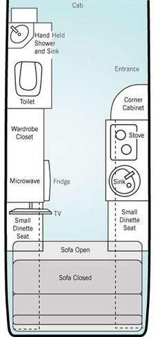 Leisure Travel Vans Free Spirit class B motorhome floorplan
