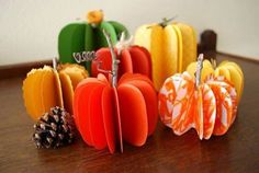 Easy fall paper pumpkin decorations for centerpieces, place cards and Diy Pumpkin, Pumpkin Crafts, Paper Pumpkin, Pumpkin Pics, Thanksgiving Centerpieces, Thanksgiving Crafts, Holiday Crafts, Thanksgiving Table, Pumpkin Centerpieces