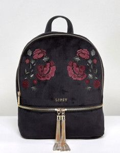 Buy Lipsy Embroidered Velvet Backpack at ASOS. Get the latest trends with ASOS now. Dior Handbags, Satchel Handbags, Handbags On Sale, Fashion Handbags, Leather Handbags, Floral Backpack, Backpack Purse, Black Backpack, Jean Backpack