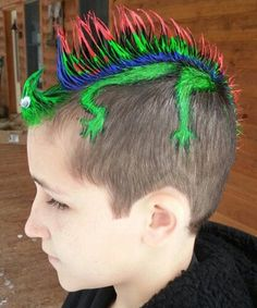 Lounging lizard For a very cool reptilian look, gel longer hair into a mohawk, using a comb to create some spikes and paint them whatever colours you like. For the lizard's head, separate your fringe or the very front of your hair with more gel, or bobby pin down into a circular bun. Add some goggly eyes and a pipe cleaner tongue to make the face. Using a paint brush, paint four legs onto your head, joining the mohawk to create the lizard's legs.