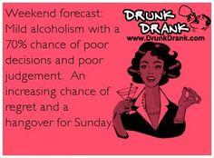 My drunk weekend forecast - http://www.drunkdrank.com/e-cards/drunk-weekend-forecast/