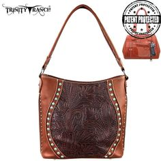 Montana West Trinity Ranch Genuine Leather Concealed Handgun Hobo Bag