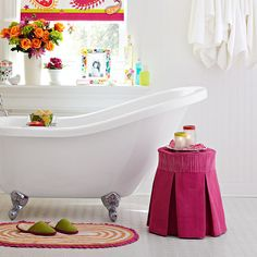 Add an easy-make slipcover to an easy-make round stool for an attractive custom bathroom accessory. $35 + slipcover.
