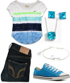 """""""Blue Hollister"""" by tbomb-1 ❤ liked on Polyvore"""