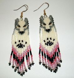 LOVE THESE!  Native American Beaded Earrings  Wolf 15 in by jstinson on Etsy, $20.00