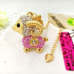 Betsey Johnson Pink Lamb-sheep Rhinestone necklace & free Gift $6.99 #BetseyJohnson #Chain
