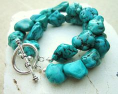 Chunky Turquoise Bracelet. Green Howlite Nugget Bracelet. Double Strand Toggle Bracelet. Turquoise Jewelry