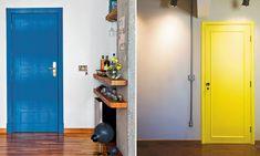 À esquerda (porta azul): projeto de Rachel Nakata e foto de Levi Mendes Jr. | À direita (porta amarela): projeto de Sergio Cabral e Bia Hajnal; foto de Maíra Acayaba