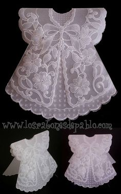 With ball stylus tool, thick parchment paper makes cute doll dresses. Vellum Crafts, Parchment Design, Baptism Cards, Art And Craft Materials, Parchment Cards, Karten Diy, Baby Girl Cards, Dress Card, Baby Shower Cards