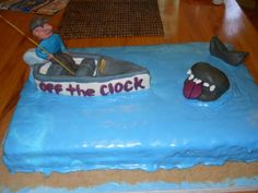 Retirement cake with briefcase motorcycle and fishing for Fishing bob slot machine