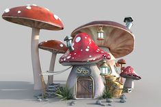 Cute mushroom house by Pixelfrankenstein on @creativemarket Mushroom House, 3d Assets, Used Parts, Modern Graphic Design, Color Correction, Cool Lighting, Geometry, Stuffed Mushrooms, Objects
