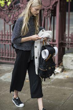 Street Style: Kirin Dejonckheere's Metallic Stripes