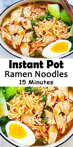 This Instant Pot Ramen is so tasty, easy and delicious Instant Pot ramen noodles recipe with tender chicken, ramen eggs, vegetable in a hearty chicken broth. This is comfort-food at a jiffy and requires just 15 minutes from the pressure-cooker. Instant Recipes, Instant Pot Dinner Recipes, Instant Pot Pressure Cooker, Pressure Cooker Recipes, Chicken Ramen Recipe, Chicken Soup, Ramen Noodles Recipe, Soup Recipes, Cooking Recipes