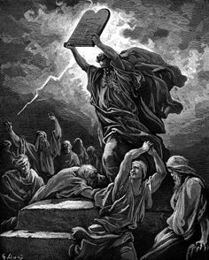 DORÉ, Gustave (1832-1883)  Moses Breaks the Tables of the Law (Ex. 32:19) engraving