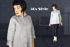 50s Style Silver Linen Blouse, Medium with Rhinestone Buttons, Long Shirt, Retro Mid Century Dressy New Look, Spring Summer Fall Winter Linen Blouse, Autumn Summer, Fall Winter, 50s Rockabilly, Big Butt, Vintage Rhinestone, New Look, Trunks, Buttons