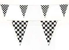 Checkered Flags Black and White Pennant Racing Banner NASCAR Theme Party Decoration Plastic Flag Race Car Parties Décor Decorative Birthday BBQ Bar Hanging Accessories 1 Banner, Party Bunting, Party Banners, Pennant Banners, Bunting Banner, Birthday Accessories, Honeycomb Decorations, Birthday Bbq, Race Car Party, Checkered Flag